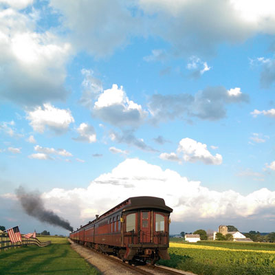 Train passing the Red Caboose Restaurant